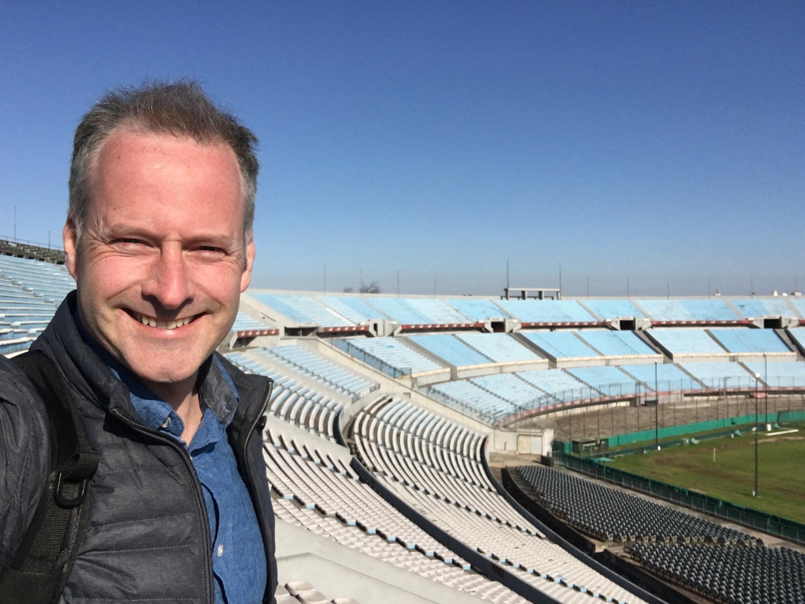 The author pictured within Centenario Stadium in Uruguay.