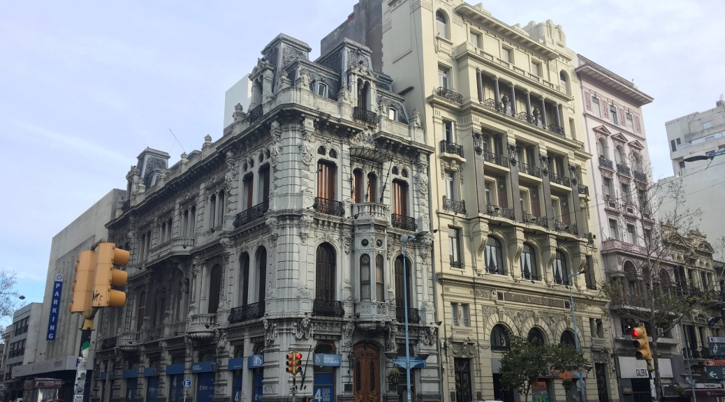 A couple of European-style buildings on the streets of Montevideo.