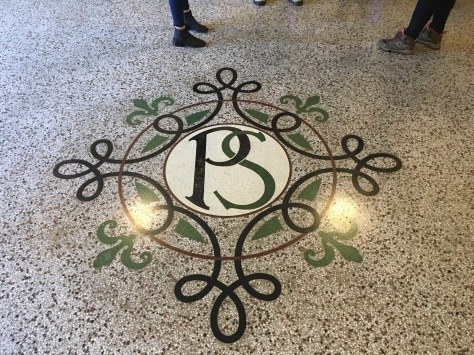 The Palacio Salvo monogram in the floor of the hotel.