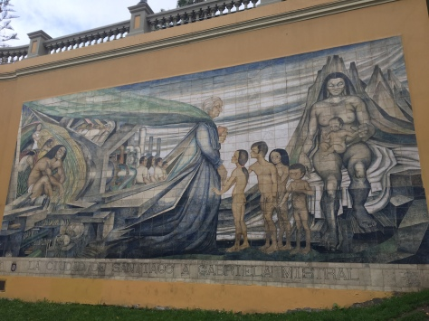 A mural in Santiago, telling the history of the city.