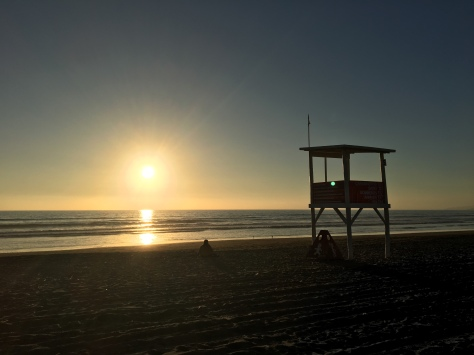 The beach at La Serena, Chile, just before sunset.