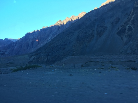 The Argentinian side of the Andes as dusk comes in.